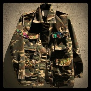 One of a kind embellished Army Camo Utility Jacket